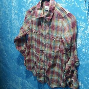 Old Navy rainbow plaid button-down shirt size XS